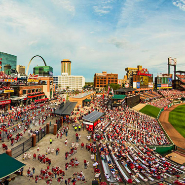 Panoramic image of Ballpark Village and Busch Stadium